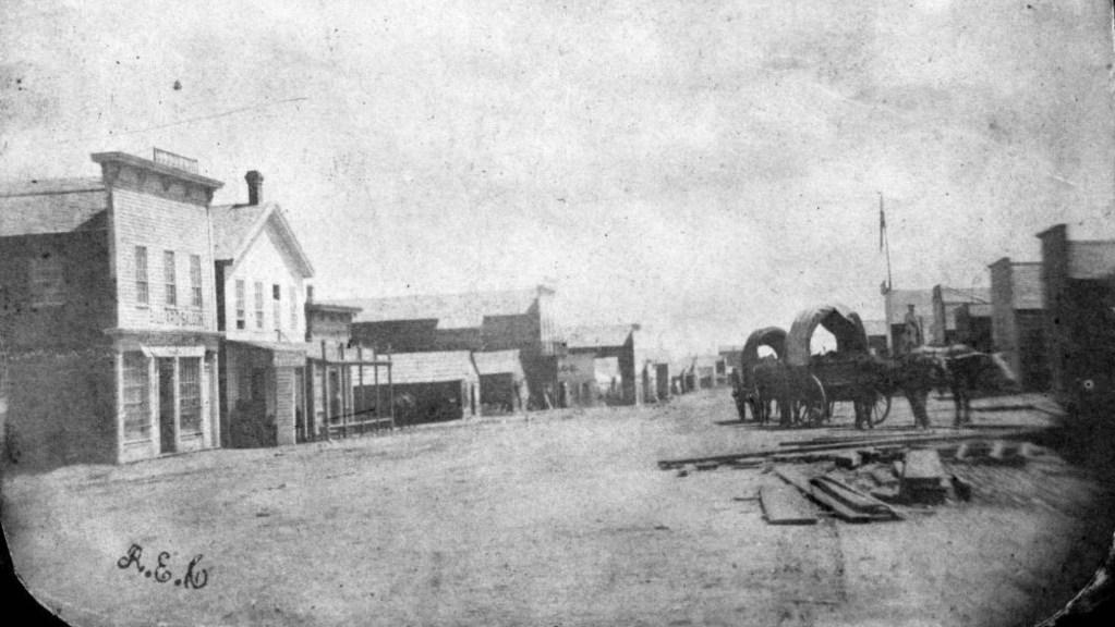 Very early photograph showing Denver, Colorado, then called Denver City. Circa 1860. (Rufus E. Cable/Denver Public Library/Western History Collection/X-22056)