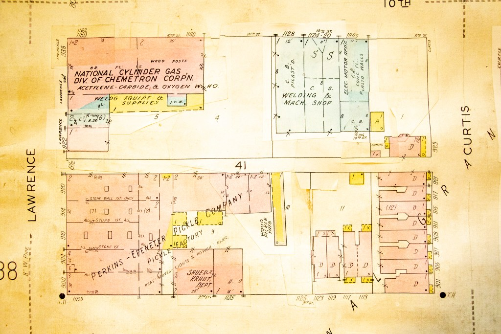 An old Sanborn fire insurance map at the Denver Public Library's Western History Collection shows what once stood at 10th and Curtis Streets where MSU's West Classroom now stands. (Denver Public Library/Western History Collection)