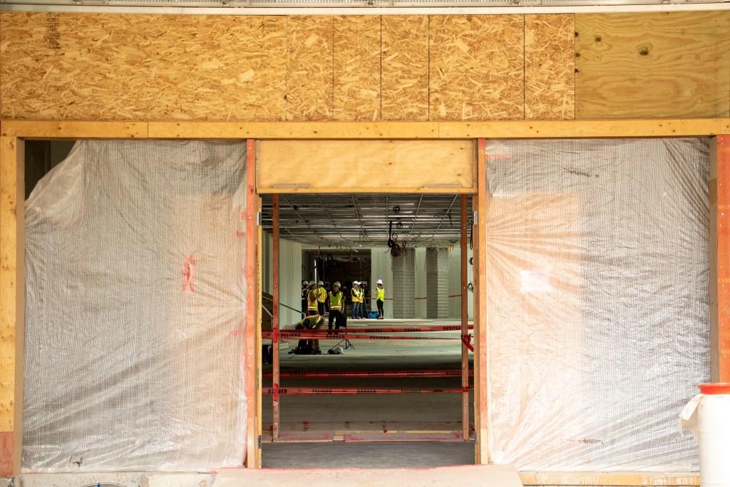 A peek inside the Denver Art Museum's new Martin Building during construction, Aug. 8, 2019. (Kevin J. Beaty/Denverite)