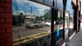 An empty business at East Colfax Avenue and Quebec Street, Aug. 22, 2019. (Kevin J. Beaty/Denverite)