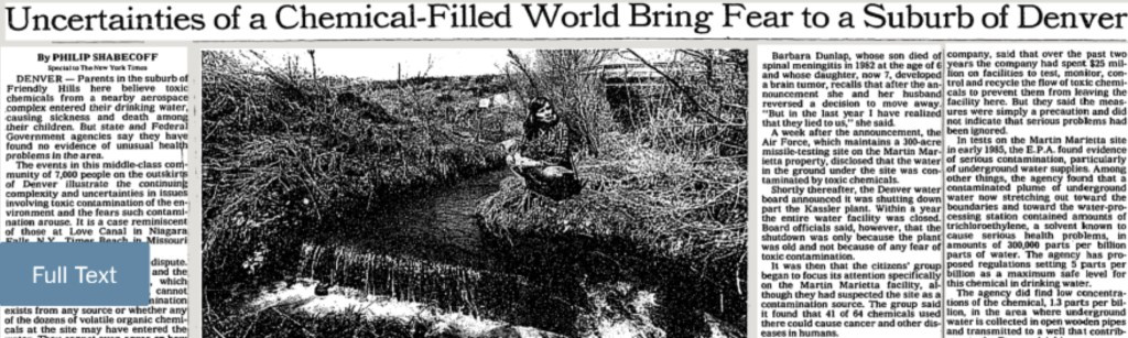 """""""Uncertainties of a Chemical-Filled World Bring Fear to a Denver Suburb,"""" The New York Times, April 19, 1987. (NYT)"""