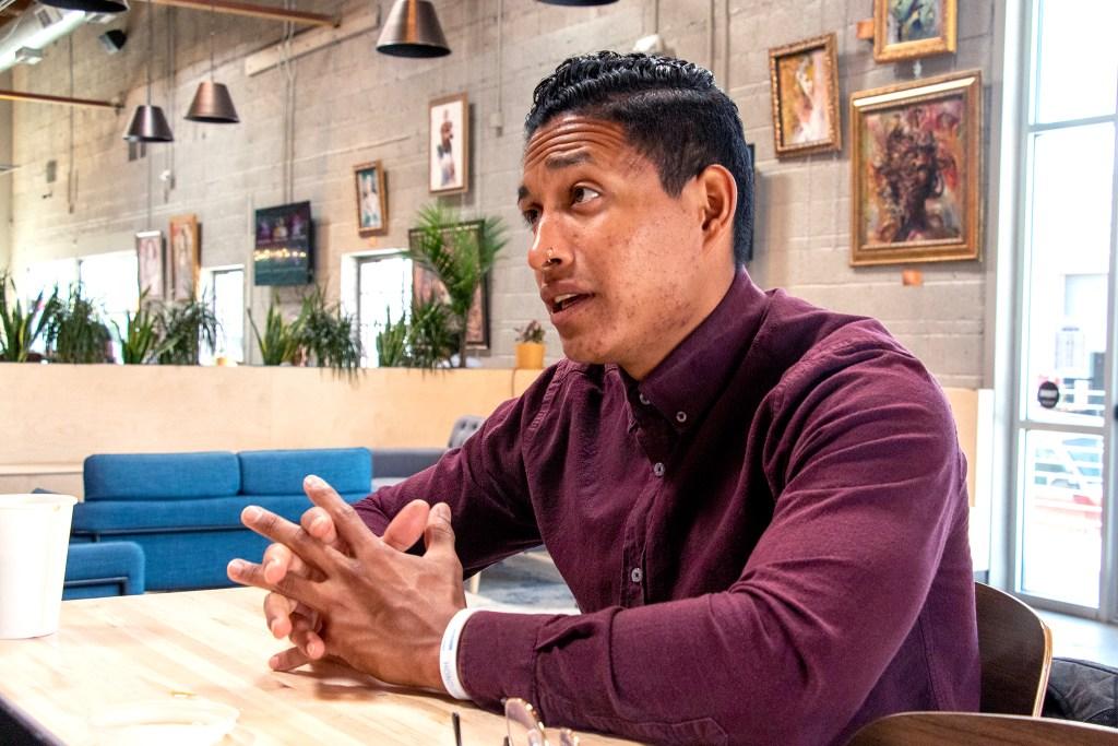Chef Edwin Sandoval chats with a reporter inside Improper City, Sept. 9, 2019. (Kevin J. Beaty/Denverite)