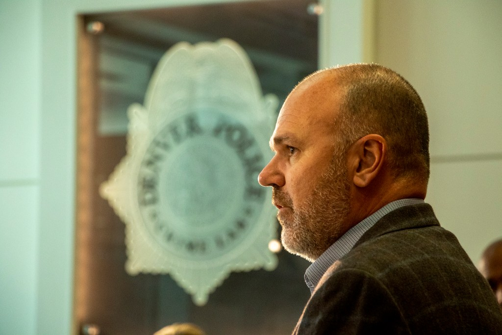 Denver Department of Safety Director Troy Riggs announces Fran Gomez as Denver's interim sheriff, Sept. 12, 2019. (Kevin J. Beaty/Denverite)