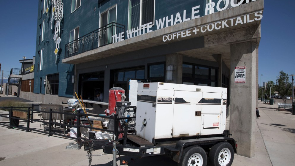 The scene outside Baker's White Whale Room, Sept. 12, 2019. (Hart Van Denberg/CPR News)