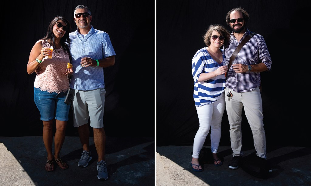 Mariam Tapia Salinas and James Salinas and Angela Burke and Taz Romine-Mann. Suave Fest, by the future site of Raices Brewing, Sept. 14, 2019. (Kevin J. Beaty/Denverite)