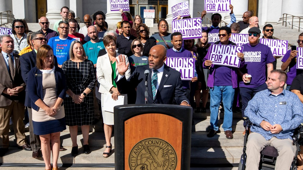 Mayor Michael Hancock announces a new ordinance proposal to increase minimum wage across the city. Sept. 19, 2019. (Kevin J. Beaty/Denverite)