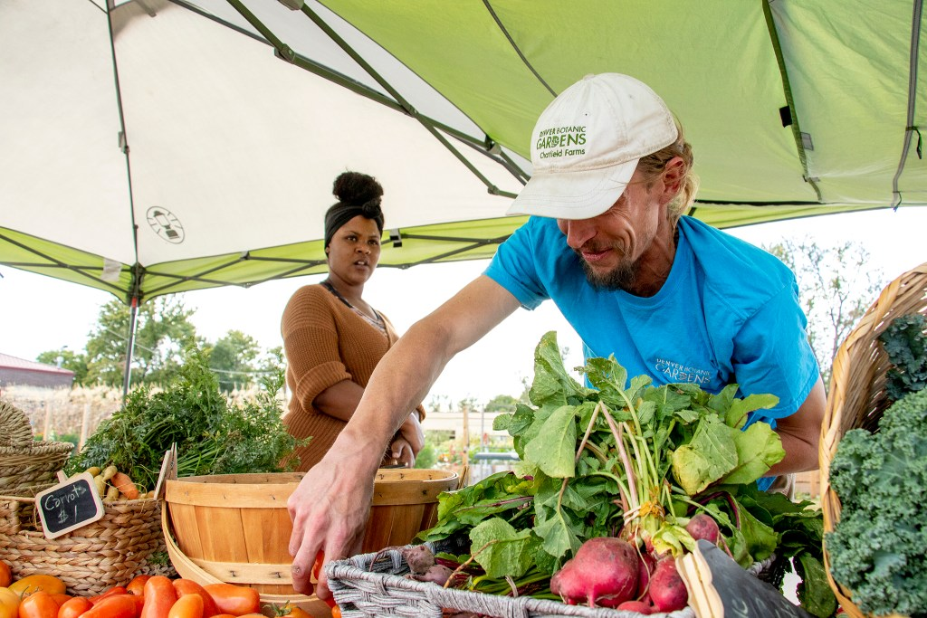 Sun Valley Resident Lynnelle Murrell and Denver Botanic Gardens urban farmer Alex Liethen peddle fresh veggies at a farm stand off the South Platte River Trail, Sept. 27, 2019. (Kevin J. Beaty/Denverite)