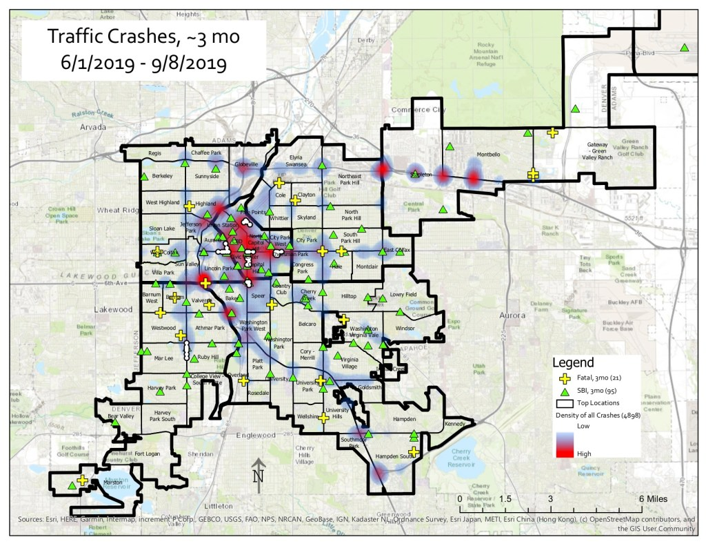 A map depicting traffic crashes in Denver over a three-month period. Image Courtesy of Denver Police.