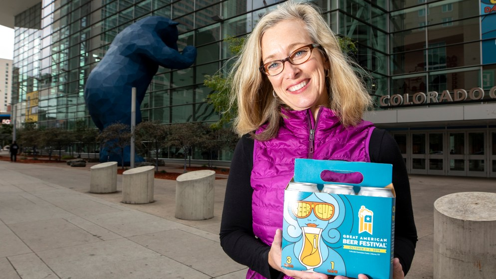 Ann Obenchain, the marketing director for the Brewers Association, poses for a portrait outside of the Great American Beer Festival grounds at the Colorado Convention Center, Oct. 2, 2019. (Kevin J. Beaty/Denverite)