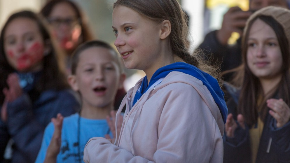 Swedish environmental activist Greta Thunberg headlined a Denver protest against climate change in Civic Center Park on Friday Oct. 11, 2019. (Hart Van Denberg/CPR News)