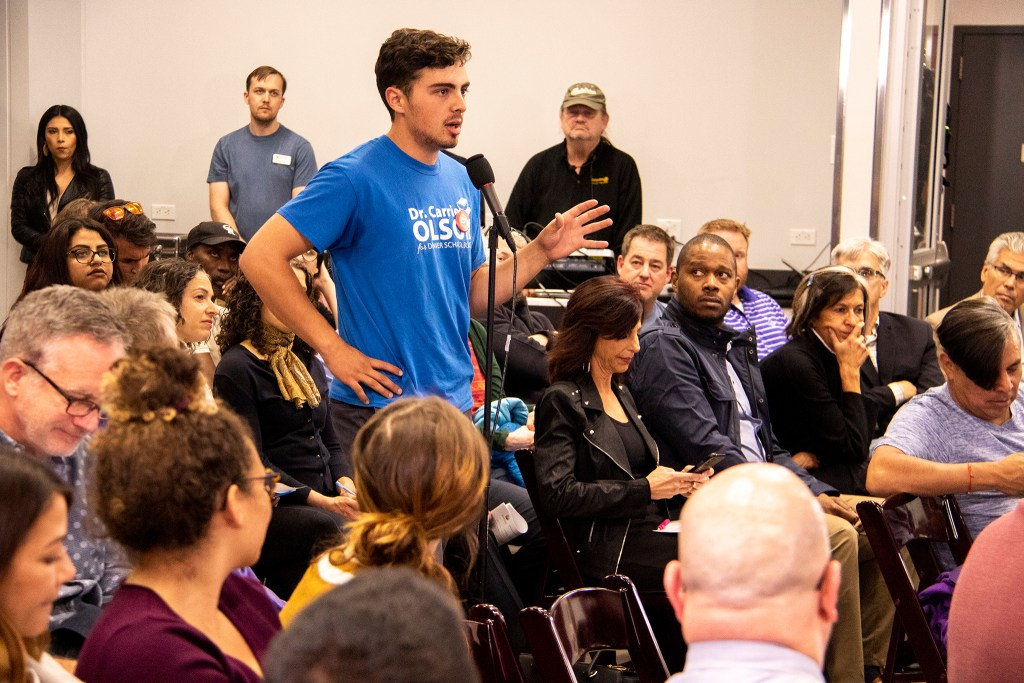 Zach Cheikho speaks during a public meeting on a proposal for higher minimum wage in Denver at the Carla Madison Rec Center, Oct. 16, 2019. (Kevin J. Beaty/Denverite)