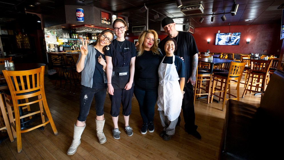 Eszther Takacs (left to right), Nicole Farabee, Tymmie Byram, owner Mercy Lee and Jeremy Adams of Barricudas. Capitol Hill, Oct. 26, 2019. (Kevin J. Beaty/Denverite)