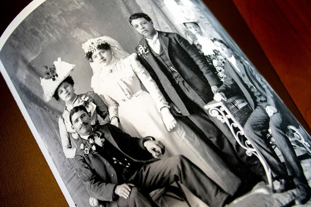 """Glass Plate Negative Aultman Number 1092; Wedding Portrait: Santiago 'James' Ocaña and Eulalia 'Lillian' Garcia, July 29, 1908."" (Kevin J. Beaty/Denverite, History Colorado Object ID, 93.322.1529)"