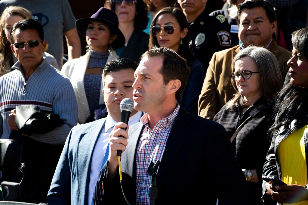 U.S. Rep. Jason Crow speaks during a rally on the City and County Building Steps in support of the Deferred Action for Childhood Arrivals program, known as DACA, that will go before the U.S. Supreme Court in a few short days. Nov. 8, 2019. (Kevin J. Beaty/Denverite)