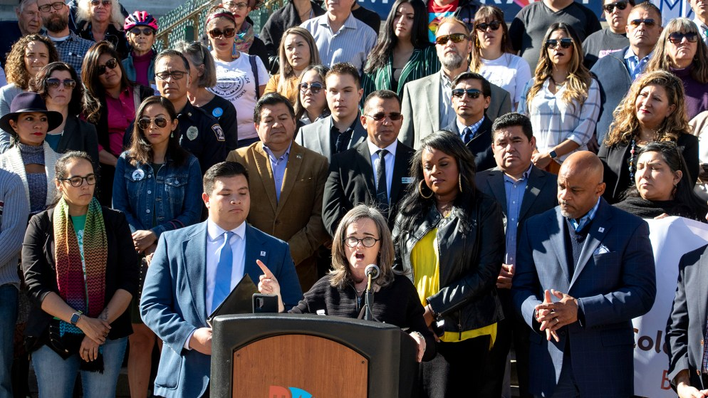 Denver City Attorney Kristin Bronson speaks during a rally on the City and County Building Steps in support of the Deferred Action for Childhood Arrivals program, known as DACA, that will go before the U.S. Supreme Court in a few short days. Nov. 8, 2019. (Kevin J. Beaty/Denverite)