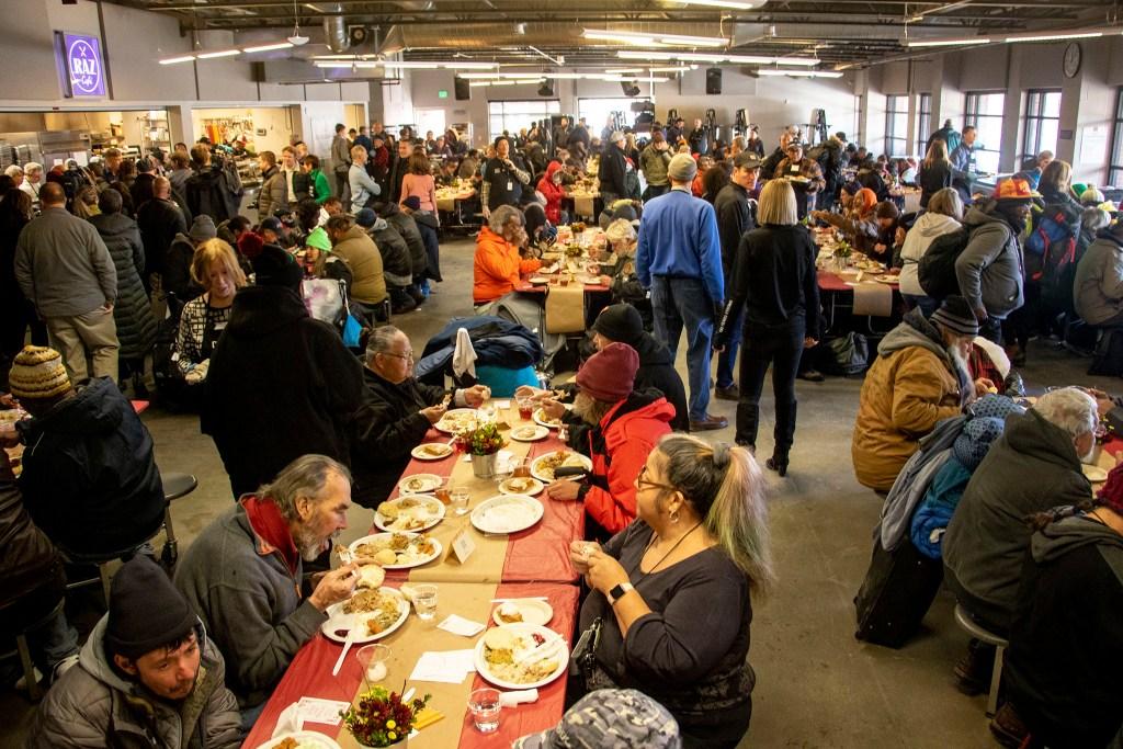 A Thanksgiving feast at the Denver Rescue Mission, Nov. 27, 2019. (Kevin J. Beaty/Denverite)