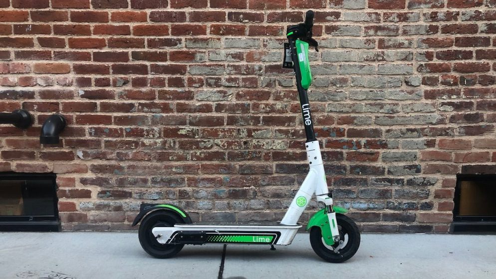 One of the new electric scooters in Golden Triangle, Nov. 4, 2019. (David Sachs/Denverite)