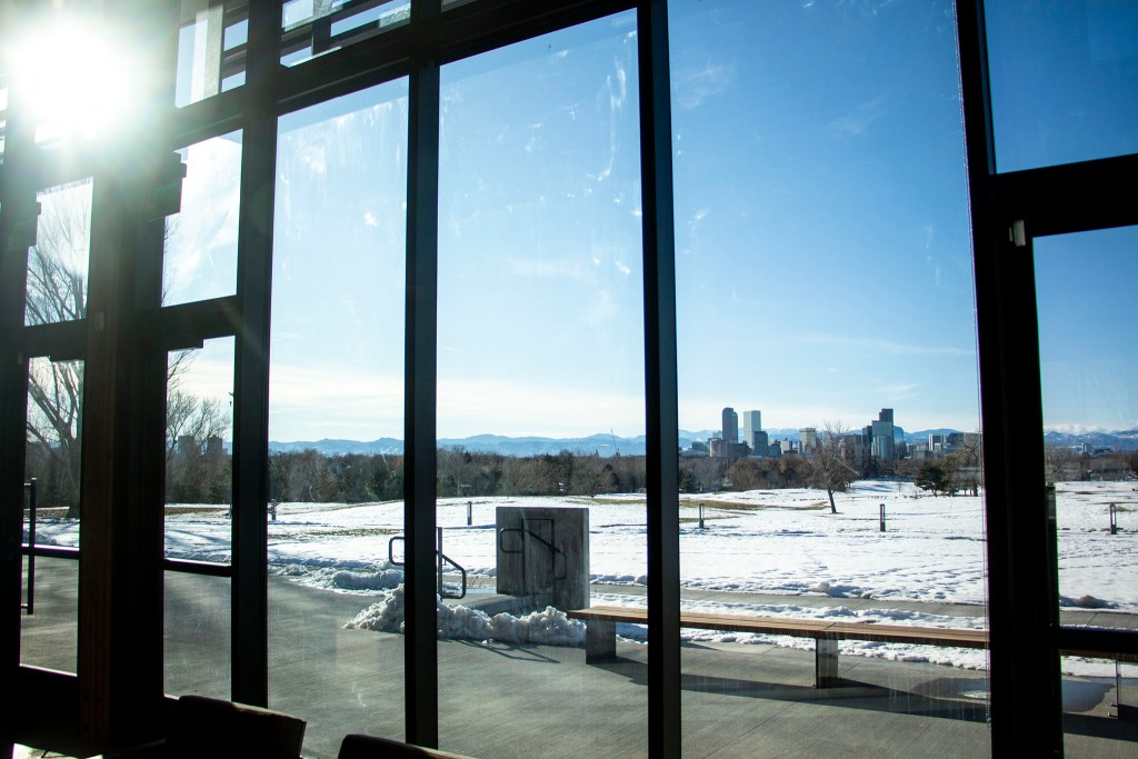 A view of Denver from City Park Golf Course's clubhouse, Dec. 3, 2019. (Kevin J. Beaty/Denverite)