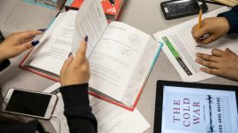 Noel Community Arts School students work through assigned classwork during a study period at the Denver school. May 2019. (Nathan W. Armes/Chalkbeat)