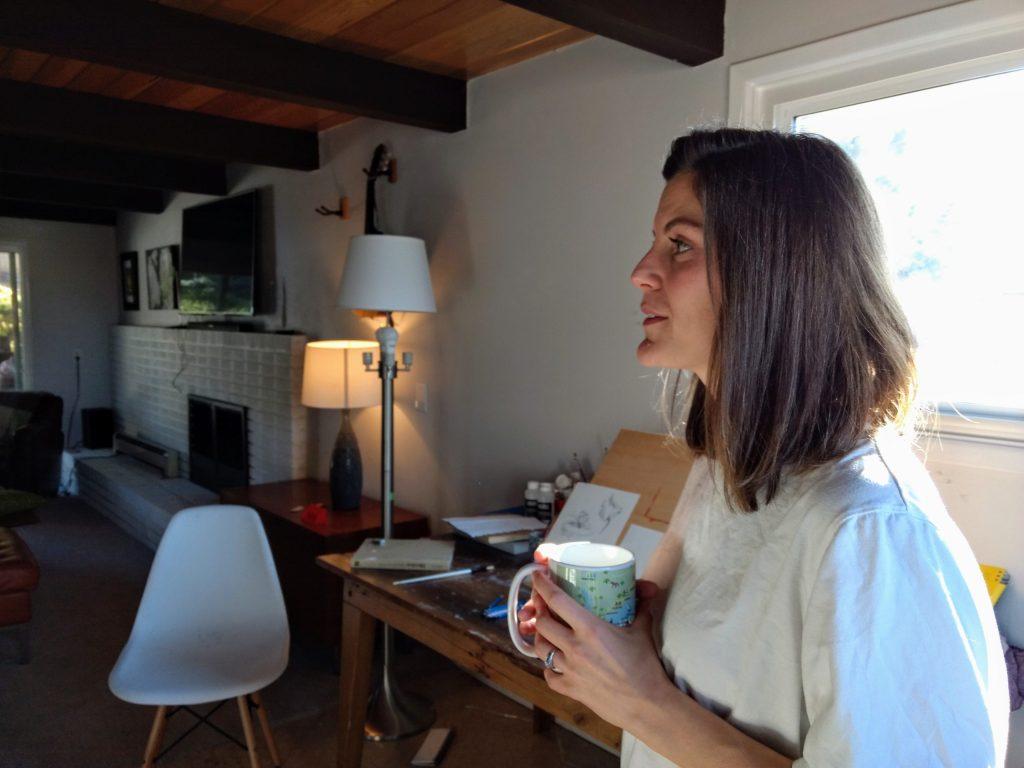 Kaitlyn Tucek in her home studio on Dec. 9, 2019. (Donna Bryson/Denverite)
