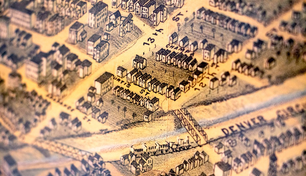 An 1882 aerial map of Denver in Wesley Brown's collection. Dec. 16, 2019. (Kevin J. Beaty/Denverite)