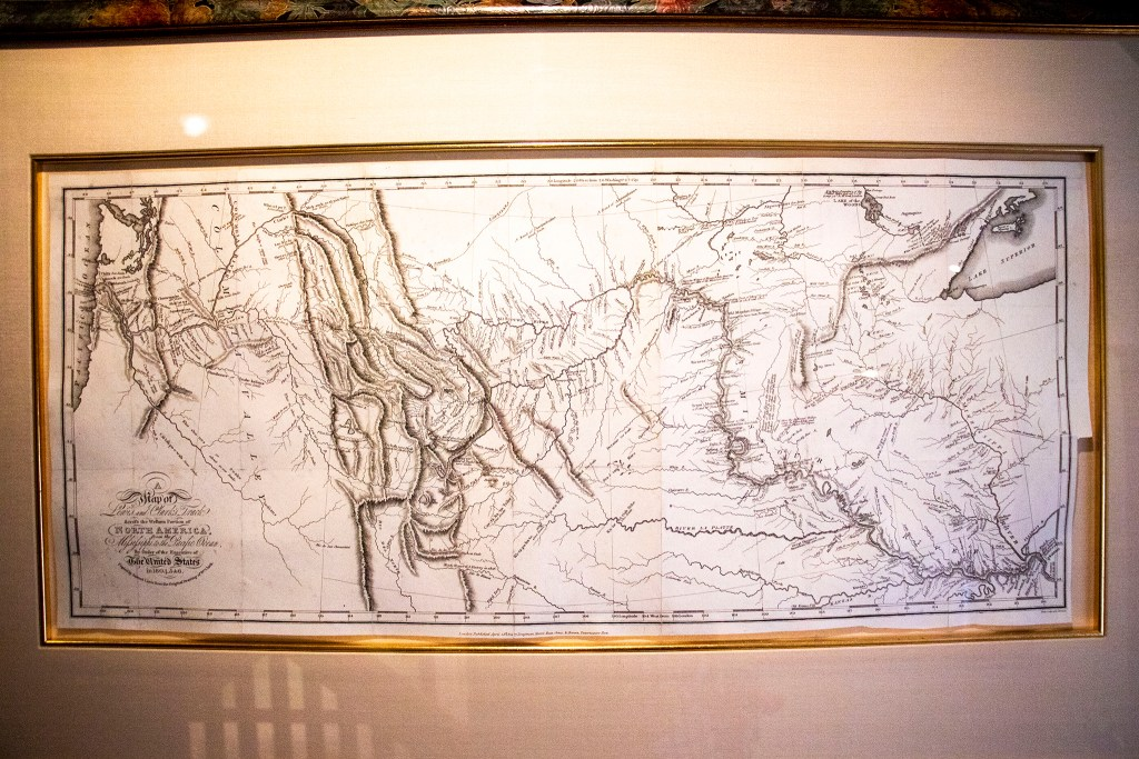 "A ""very rare"" printed copy Lewis and Clark's  1814 map of the American west in Wesley Brown's collection. Dec. 16, 2019. (Kevin J. Beaty/Denverite)"