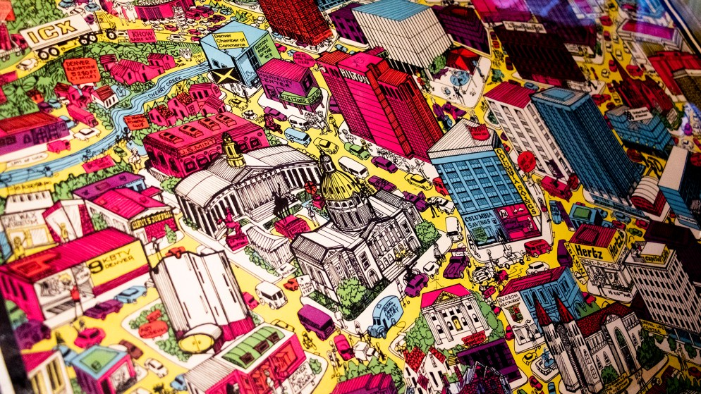 A 70s-era map of Denver in Wesley Brown's map collection. Dec. 16, 2019. (Kevin J. Beaty/Denverite)