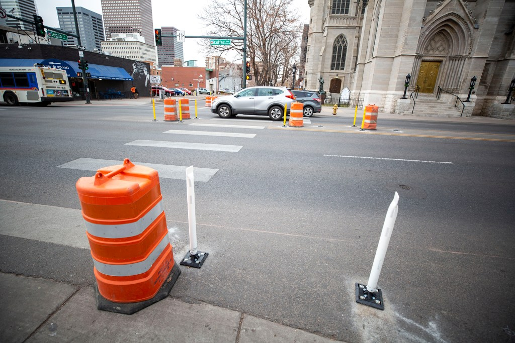 New bollards installed on Colfax Avenue at Logan Street. Jan. 9, 2020. (Kevin J. Beaty/Denverite)