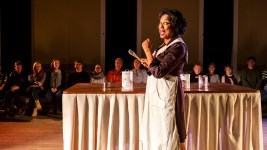 "Adrienne Martin-Fullwood performs in the first act of ""Recipe"" at The Savoy at Curtis Park, Jan. 19, 2020. (Kevin J. Beaty/Denverite)"