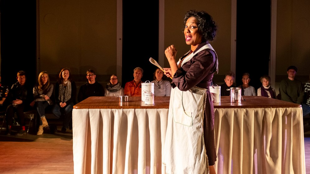 """Adrienne Martin-Fullwood performs in the first act of """"Recipe"""" at The Savoy at Curtis Park, Jan. 19, 2020. (Kevin J. Beaty/Denverite)"""
