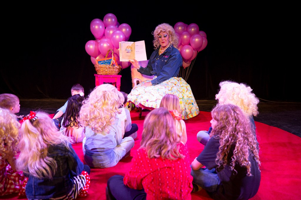 Stuart Sanks, AKA Shirley Delta Blow, does drag storytime at Dolly Day Denver, Jan. 26, 2020. (Kevin J. Beaty/Denverite)