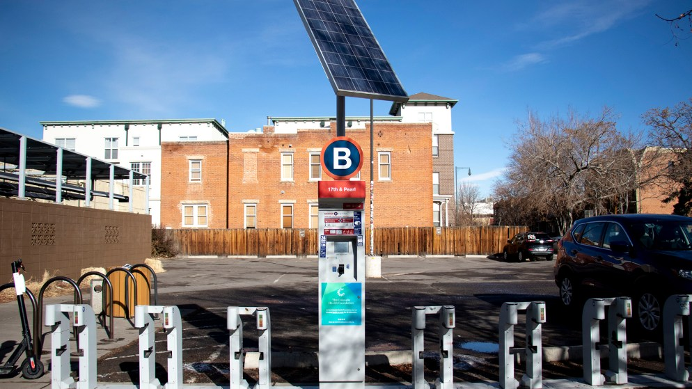 A B-Cycle station in North Captiol Hill on the rideshare's last day of operation, Jan. 30, 2020. (Kevin J. Beaty/Denverite)