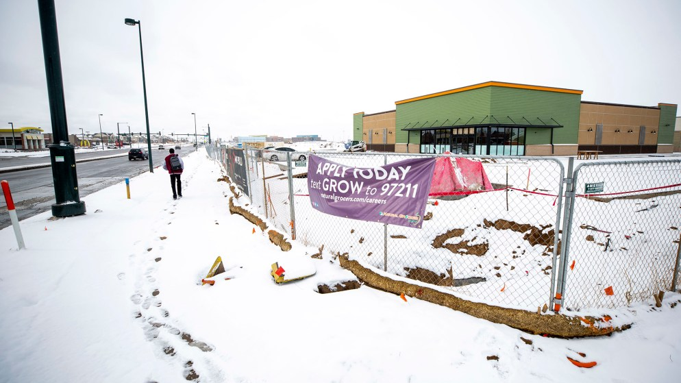 The future site of a Natural Grocers in Green Valley Ranch, Feb. 4, 2020. (Kevin J. Beaty/Denverite)