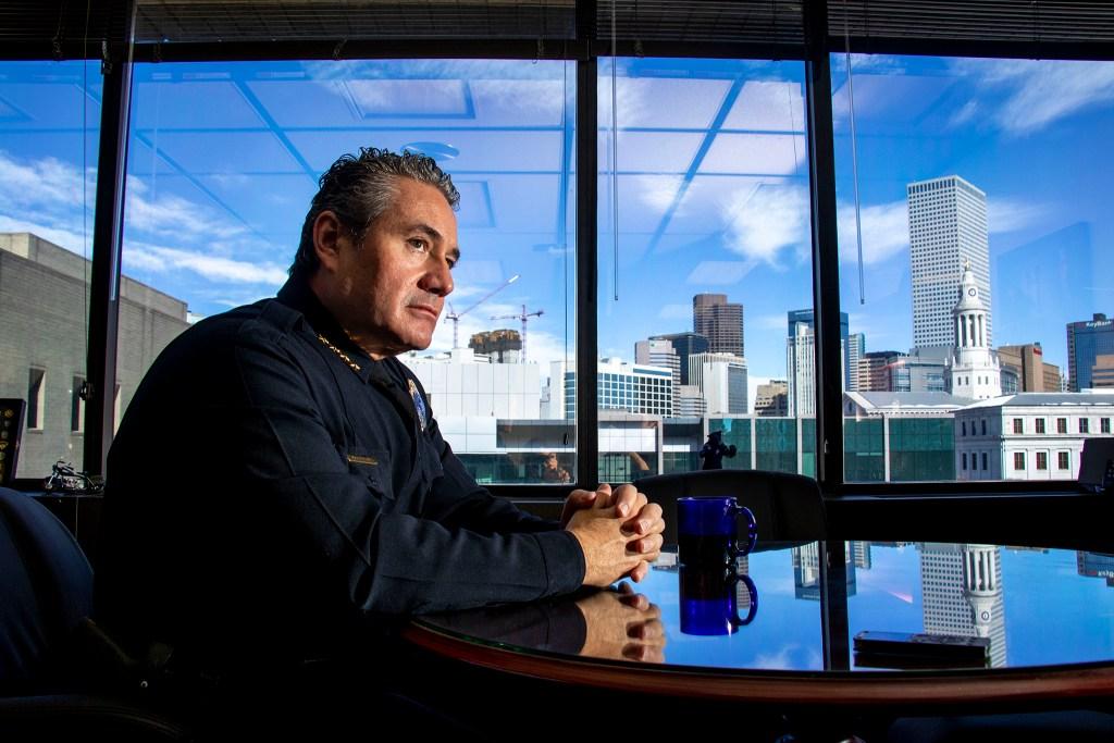 Denver Police Chief Paul Pazen speaks to a reporter in his office. Feb. 14, 2020. (Kevin J. Beaty/Denverite)
