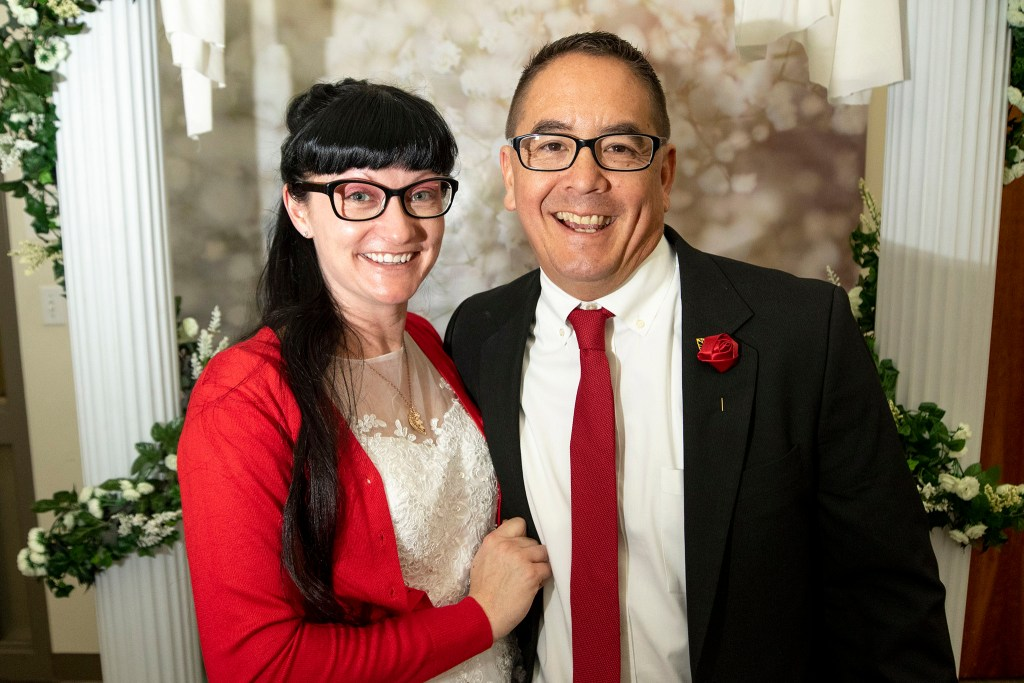 Don and Kim Kuroda were married on Valentine's Day at the office of Denver's Clerk and Recorder, Feb. 14, 2020. (Kevin J. Beaty/Denverite)