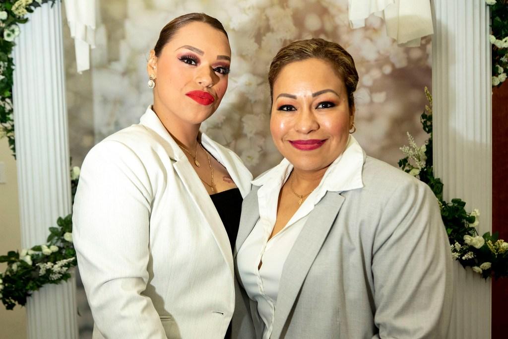 Leticia Hernandez (left) and Elizabeth Reyes were married on Valentine's Day at the office of Denver's Clerk and Recorder, Feb. 14, 2020. (Kevin J. Beaty/Denverite)