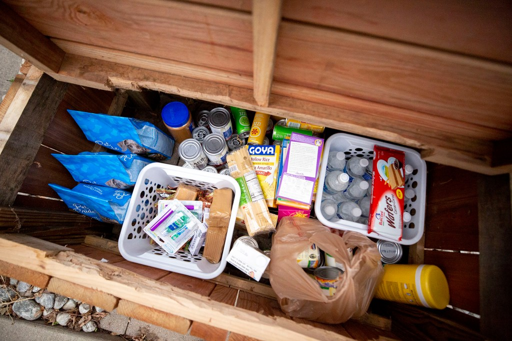 Maggie Thompson's take-some-leave-some mutual aid box at her home in Clayton. March 17, 2020. (Kevin J. Beaty/Denverite)