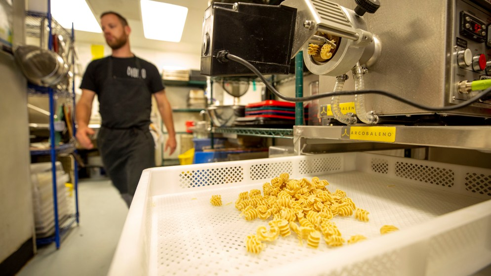 Fresh-made pasta at Dio Mio, Five Points, March 20, 2020. (Kevin J. Beaty/Denverite)