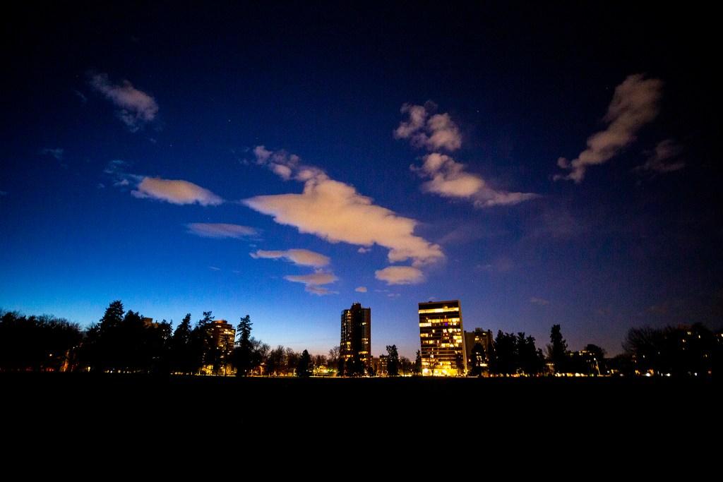 Cheesman Park at dusk. April 7, 2020. (Kevin J. Beaty/Denverite)