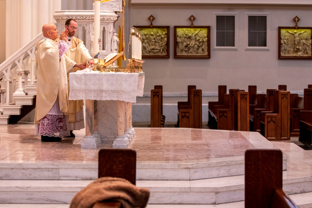 Easter at the Cathedral Basilica of the Immaculate Conception. April 12, 2020. (Kevin J. Beaty/Denverite)