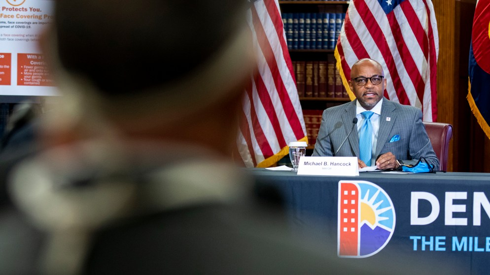 Mayor Michael Hancock gives a COVID-19 update in the City and County Building's Parr-Widener Room. May 5, 2020. (Kevin J. Beaty/Denverite)