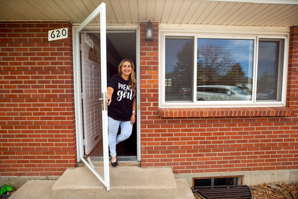 Elena Martinez in her Brighton home. May 13, 2020. (Kevin J. Beaty/Denverite)
