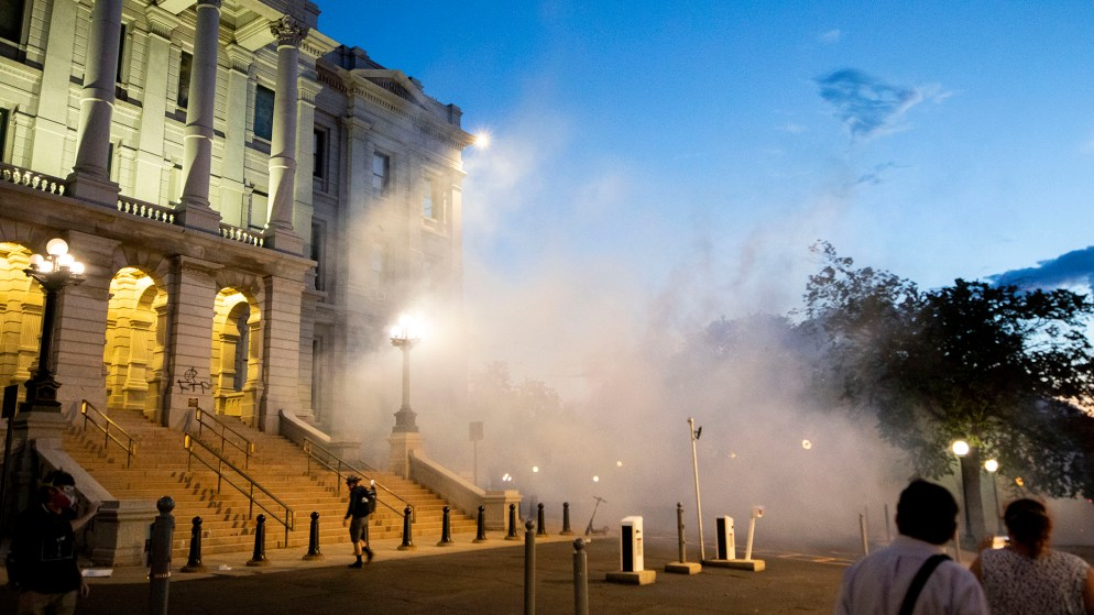 Tear gas from Denver Police officers' offensive on protesters floats east over the Capitol. May 29, 2020. (Kevin J. Beaty/Denverite)