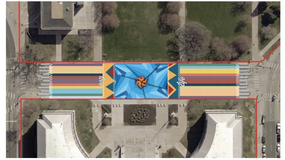 "A rendering of ""Interwoven"" in front of the City and County Building in Denver. (Photo courtesy of So-Gnarc Creative Division)"