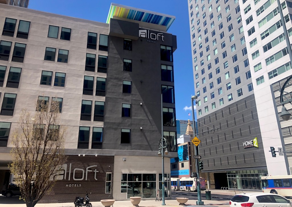 The Aloft Denver Downtown hotel, May 4, 2020. (David Sachs/Denverite)