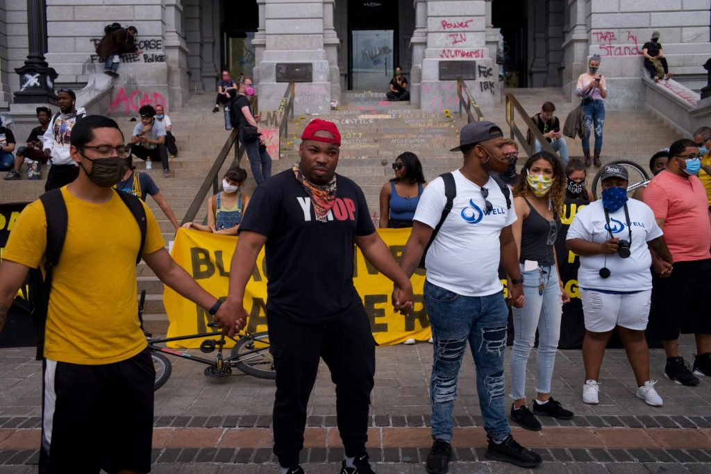 Protesters at the Capitol building in Denver on Sunday, May 31, 2020.