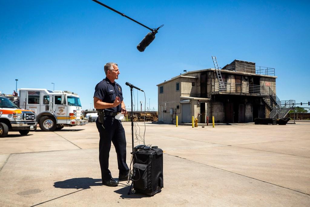 DPD District 4 Commander Mark Fleecs speaks to press about increased fireworks enforcement. June 24, 2020. (Kevin J. Beaty/Denverite)