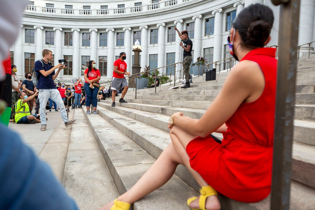 Kerrie Joy speaks during the Denver People's Town Hall on the City and County Building steps on June 29, 2020. (Kevin J. Beaty/Denverite)