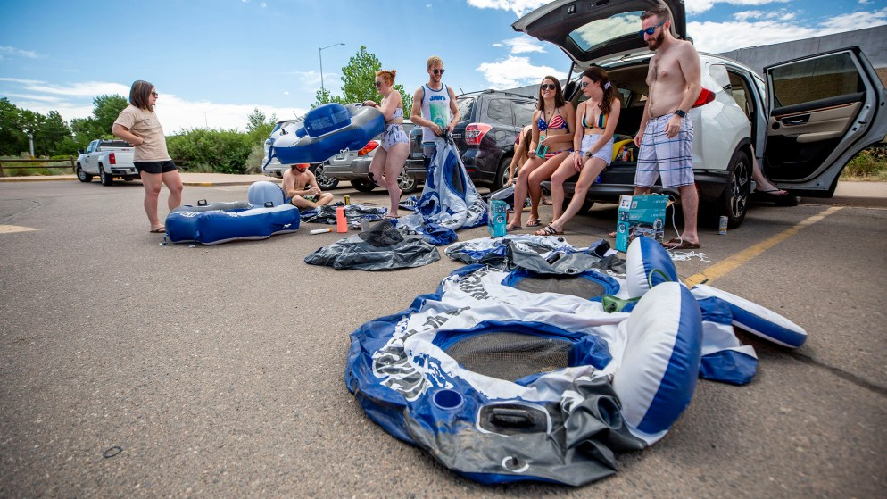 Kim Engler and her friends plan to tube at South Platte Park in Littleton despite low flows. July 18, 2020.