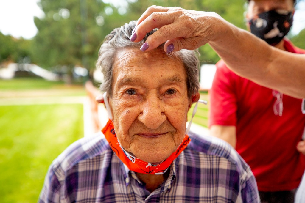 100-year-old Victororiano Trujillo walked from his home to sign a petition to change the name of Columbus Park to La Raza Park. July 24, 2020.